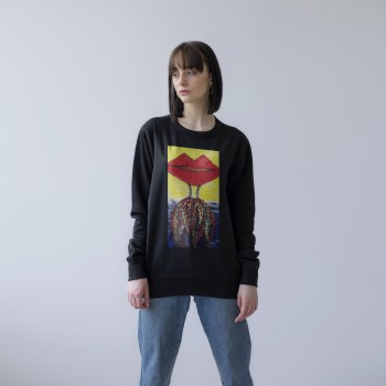 BLACK UNISEX SWEATSHIRT 'WOMAN IN THE LIPS'