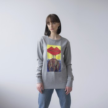 GREY UNISEX SWEATSHIRT 'WOMAN IN THE LIPS'