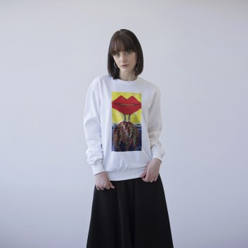 WHITE UNISEX SWEATSHIRT 'WOMAN IN THE LIPS'