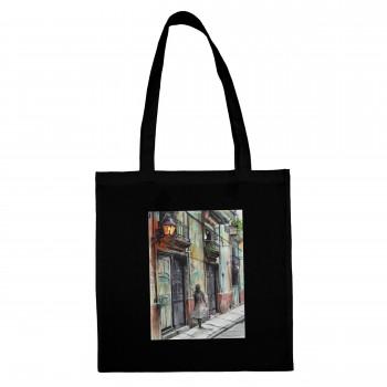 BLACK COTTON SHOPPING BAG STREET