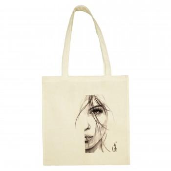 SANDY COTTON SHOPPING BAG 'HALF FACE OF WOMAN'