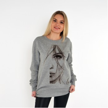 GREY UNISEX SWEATSHIRT FOR WOMEN 'HALF FACE OF WOMAN'