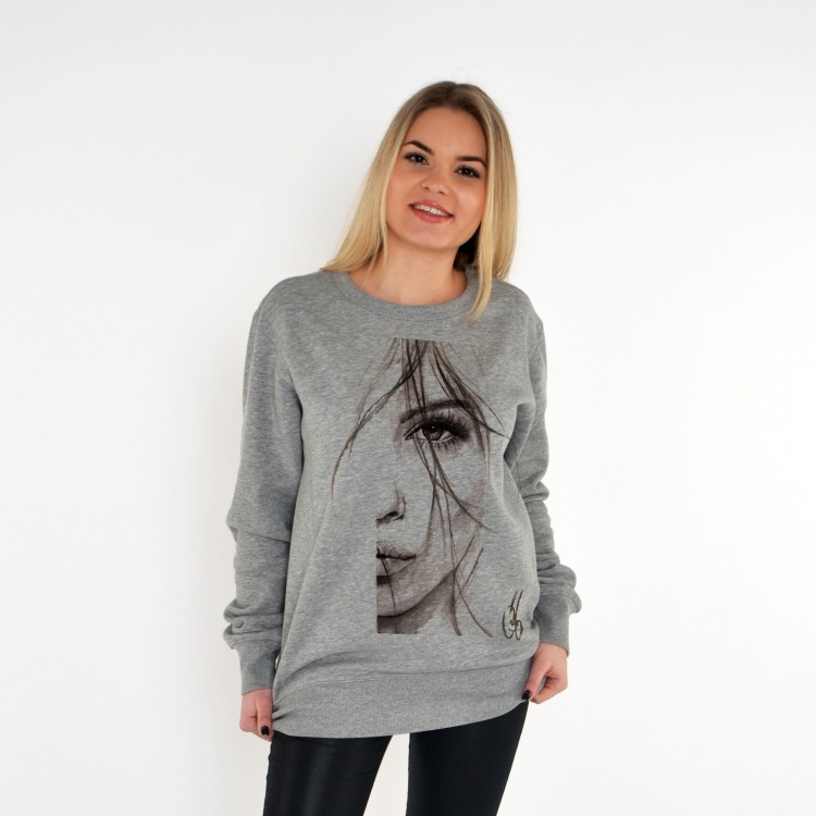 GREY SWEATSHIRT FOR WOMEN HALF FACE OF WOMEN