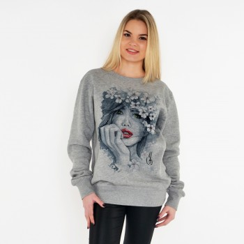 GREY UNISEX SWEATSHIRT FOR WOMEN 'WOMAN WITH RED LIPS'