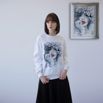 'WOMAN WITH RED LIPS' WHITE UNISEX SWEATSHIRT