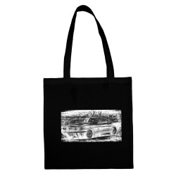 'RETRO AUTO 2' BLACK COTTON SHOPPING BAG