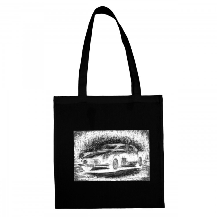 'RETRO AUTO' BLACK COTTON SHOPPING BAG