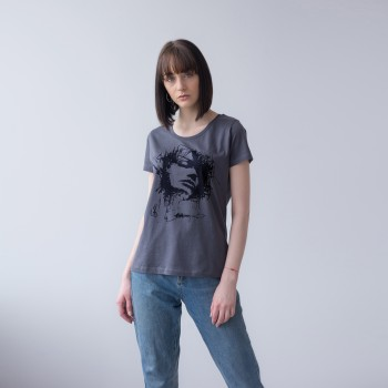 GREY T-SHIRT FOR WOMAN 'WOMAN IN BLACK'