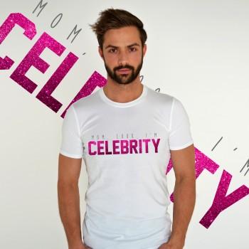 WHITE T-SHIRT FOR MEN 'MOM, LOOK, I'M CELEBRITY'