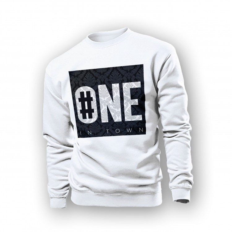WHITE SWEATSHIRT 'NUMBER ONE'