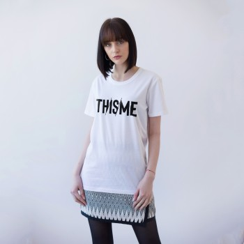 WHITE UNISEX T-SHIRT FOR WOMEN 'TH/IS/ME'