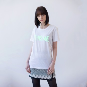 WHITE UNISEX T-SHIRT FOR WOMEN 'TH/IS/ME' (SHINING IN THE DARK)