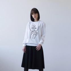 WHITE UNISEX DOUBLE-SIDED SWEATSHIRT FOR WOMEN 'SILENCE'