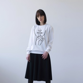 'SILENCE' WHITE UNISEX DOUBLE-SIDED SWEATSHIRT