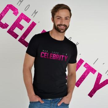 BLACK T-SHIRT FOR MEN 'MOM, LOOK, I'M CELEBRITY'