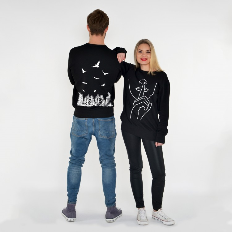 BLACK DOUBLE-SIDED SWEATSHIRT SILENCE