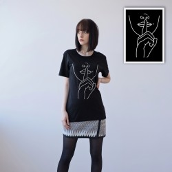 BLACK DOUBLE-SIDED UNISEX T-SHIRT FOR WOMEN 'SILENCE'