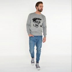 GREY SWEATSHIRT FOR MEN SELFIE