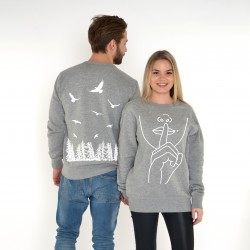 GREY UNISEX DOUBLE-SIDED SWEATSHIRT 'SILENCE'