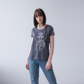GREY T-SHIRT FOR WOMEN 'SILENCE'