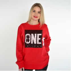 RED UNISEX SWEATSHIRT FOR WOMEN NUMBER ONE