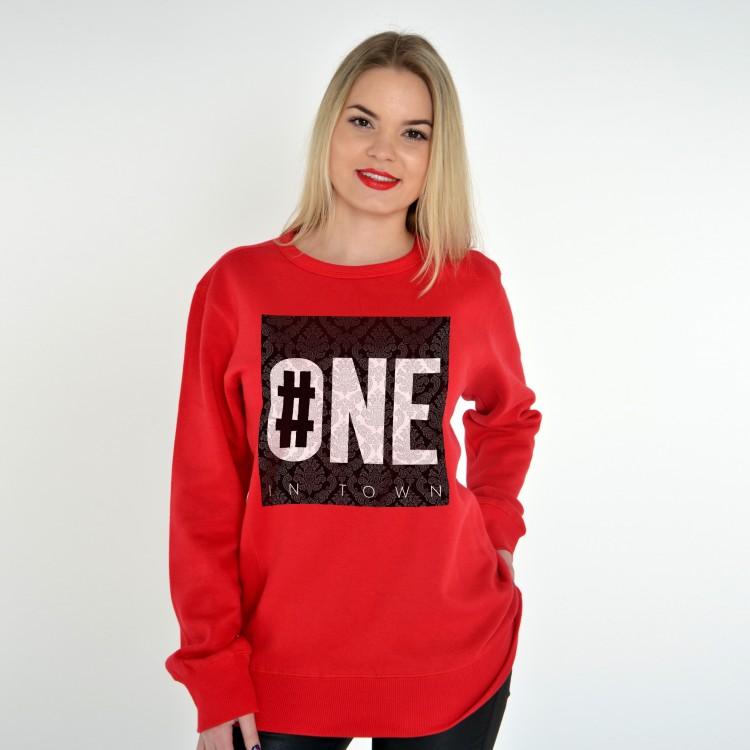 RED UNISEX SWEATSHIRT FOR WOMEN NUMBER ONE
