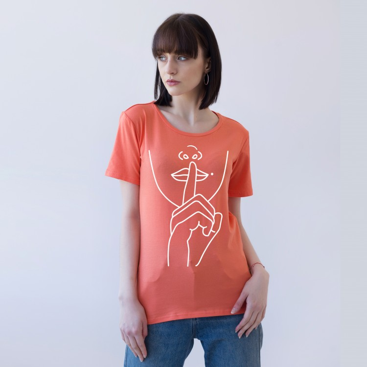 'SILENCE' SALMON DOUBLE-SIDED T-SHIRT FOR WOMEN