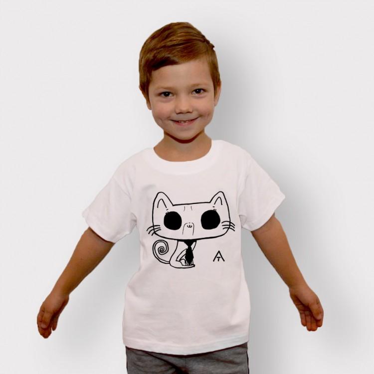 'CAT' WHITE ORGANIC COTTON T-SHIRT FOR KID
