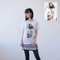 WHITE UNISEX T-SHIRT FOR WOMEN 'HALF FACE OF WOMAN'