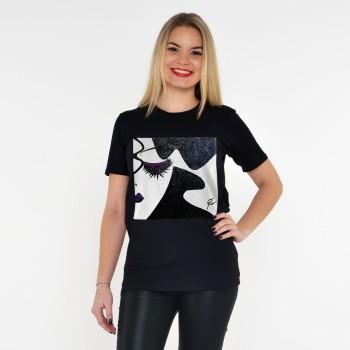 BLACK T-SHIRT FOR WOMEN WOMAN NIGHT