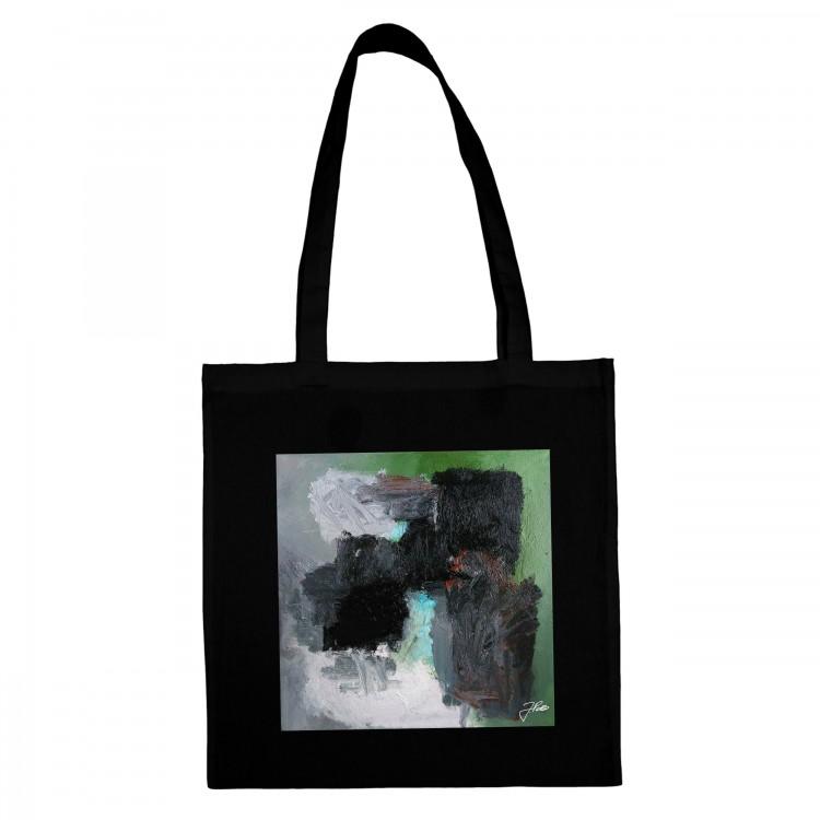 BLACK COTTON SHOPPING BAG