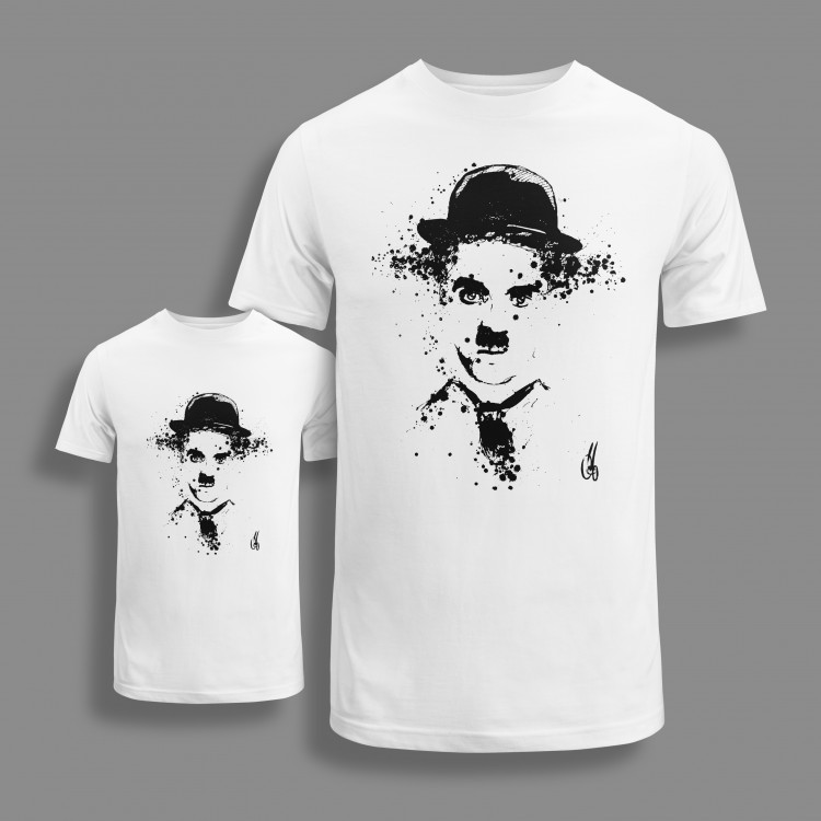 'CHARLIE' SET OF WHITE ORGANIC COTTON T-SHIRTS FOR KID AND ADULT