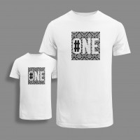 'NUMBER ONE' SET OF ORGANIC COTTON T-SHIRTS FOR KID AND ADULT