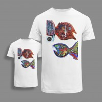 'FISHES' SET OF ORGANIC COTTON T-SHIRTS FOR KID AND ADULT