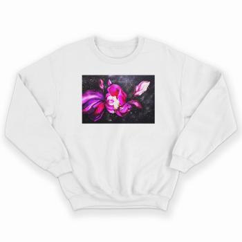 'COSMIC FLOWERS' WHITE UNISEX SWEATSHIRT