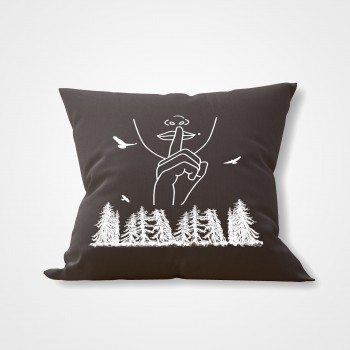 GREY INTERIOR PILLOW SILENCE IN THE FOREST