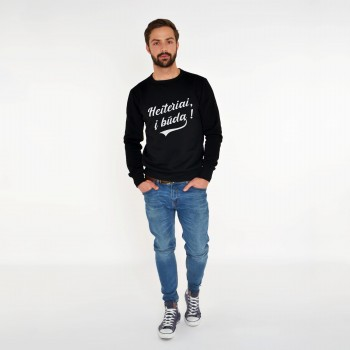 BLACK SWEATSHIRT FOR MEN 'HEITERIAI, Į BŪDĄ'