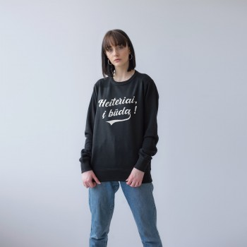 BLACK UNISEX SWEATSHIRT FOR WOMEN 'HEITERIAI, Į BŪDĄ'