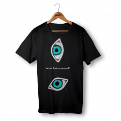 'BETTER LOOK AT YOURSELF' BLACK ORGANIC COTTON UNISEX T-SHIRT