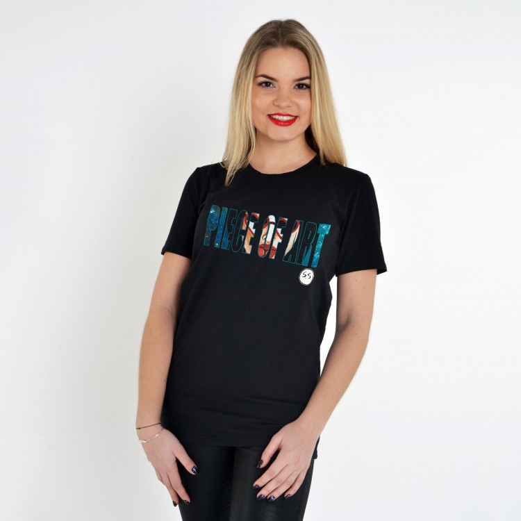 BLACK T-SHIRT FOR WOMEN 'MATERIAL GIRL (POA)'
