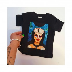 'MATERIAL GIRL' BLACK T-SHIRTS FOR KID