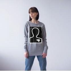 GREY UNISEX SWEATSHIRT FOR WOMEN 'SHINNING PERSON' (print shine in the dark)
