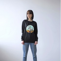 BLACK UNISEX SWEATSHIRT FOR WOMEN 'BIRD'