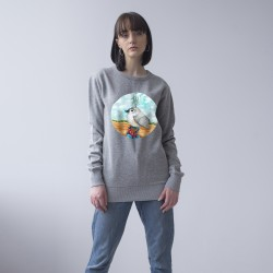 GREY UNISEX SWEATSHIRT FOR WOMEN 'BIRD'
