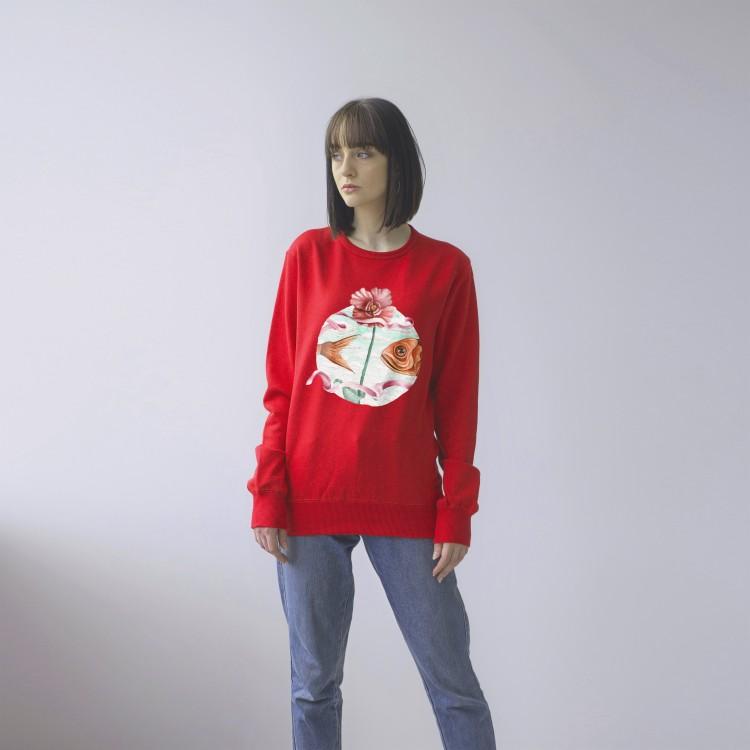 RED UNISEX SWEATSHIRT FOR WOMEN 'FISH'
