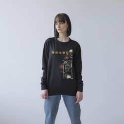 BLACK UNISEX SWEATSHIRT FOR WOMEN 'SKELETON'