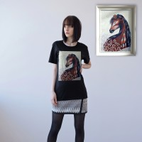 BLACK UNISEX T-SHIRT FOR WOMEN 'HORSESHOE'
